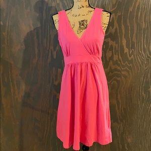 Columbia wrap front midi dress sleeveless hot pink